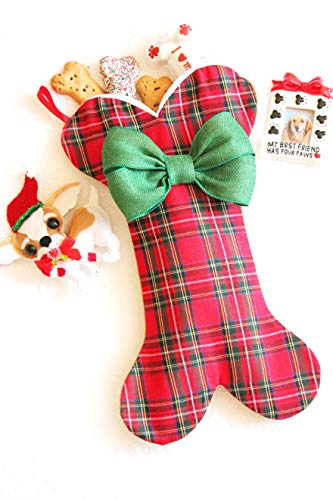 Lovlinne_Designs Dog Bone Christmas Stocking - Burlap Pet Stockings - Christmas Stockings for Dogs Burlap Christmas Stockings for Dogs, Many Colors! Made in USA - (Plaid Bone with Green Bow)