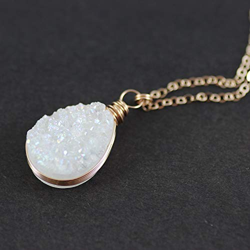 White Druzy Geode Teardrop Rose Gold Necklace - 18