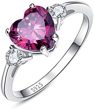 Bonlavie Women's 3.5ct Created Garnet 925 Sterling Silver Heart Shaped Promise Rings with CZ Cubic Zirconia