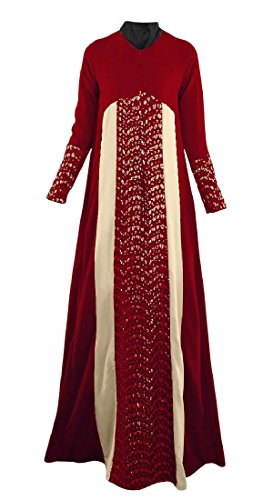 Coolred Premium Vintage Hem Classic Pencil Long Red Lace Women Muslim Dress gWrP6xW4n