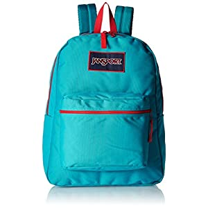 "JanSport Mens Classic Mainstream Overexposed Backpack - Algiers Blue/High Risk Red / 16.7""H X 13""W X 8.5""D"