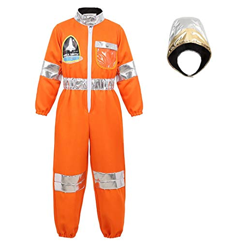 Astronaut Costume for Kids Dress Up Jumpsuit for Boys Girls Halloween Costume Children's Role Play Spaceman Suit Set Orange-M ()