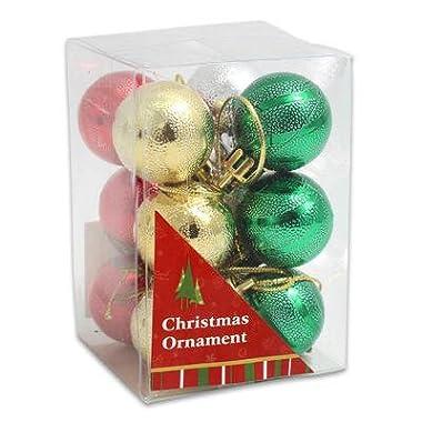 12PC Mini Size Christmas Ball Ornament Set 1.1  (28mm)