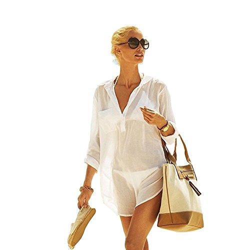 Women's Cotton Beachwear Bikini Swimwear Beach Club V-Neck Sexy Perspective Cover Up Skirt Bathing Suit(CP-CT) (XXL, Cream-Shirt)