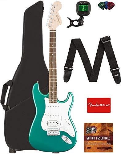 Fender Squier Affinity Stratocaster HSS Guitar - Race Green Bundle with Gig Bag, Tuner, Strap, Picks, and Austin Bazaar Instructional DVD