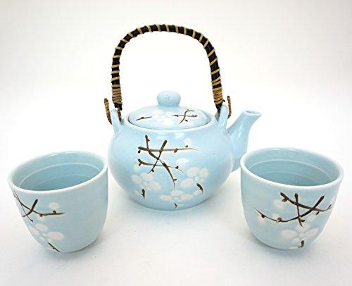 Japanese Cherry Blossom Sakura Sky Blue Tea Set Ceramic Teapot with Rattan Handle and 2 Tea Cups