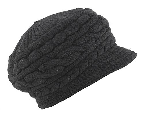 - Kaisifei Women Winter Warm Knit Hat Ski Caps with Visor (Black)