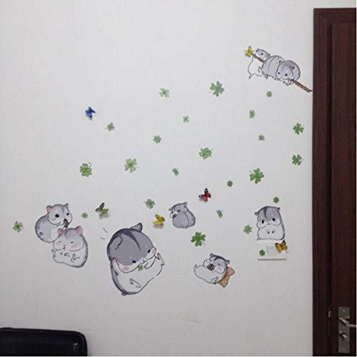 Lovely Little Hamster Wall Stickers Cute Cartoon Mouse Decor Baby Love Toy Gifts Home Kids Room Decoration DIY