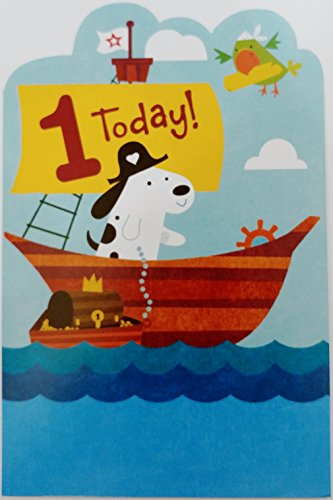 Set Sail for a Happy First 1st Birthday Greeting Card - One-Derful Year - One Year Old - w/ Pirate Dog ()