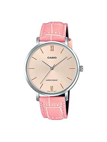 Casio LTP-VT01L-4B Women's Minimalistic Peach Dial Pink Leather Band Analog Watch