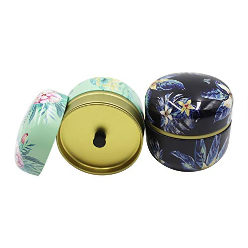 Floral Mini Loose Leaf Tea Container Tins Food Storage Case for Coffee, Sugar, Spices, Candy, Chocolate, Salt, Snacks(2Packs)