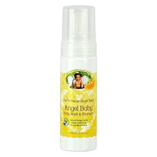 Earth Mama Angel Baby, Angel Baby Shampoo & Body Wash, Natural Orange Vanilla, 5.3 fl oz (160 ml) - 2pc
