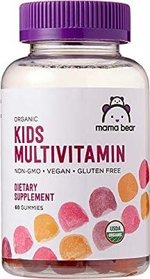 Amazon Brand – Mama Bear Organic Kids Multivitamin Gummies, 60 Gummies, 1 Month Supply