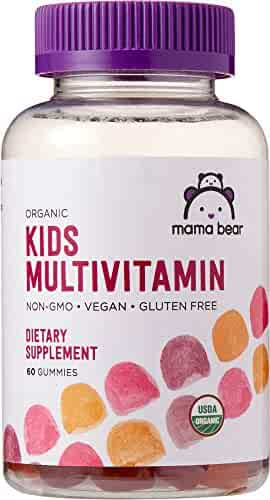 Amazon Brand - Mama Bear Organic Kids Multivitamin, 60 Gummies, 1 Month Supply