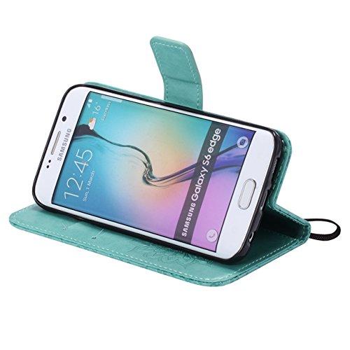 Carcasas y fundas Móviles, Para Samsung Galaxy S6 Edge Case, Sun Flower Diseño de la impresión PU cuero Flip Wallet Lanyard funda protectora con ranura para tarjeta / soporte para Samsung Galaxy S6 Ed Green