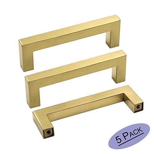 goldenwarm Square Brushed Brass Cabinet Pulls Drawer Handles - LSJ12GD102 Gold Color Classical Square Kitchen Cabinet Hardware 4 Hole Centers Cupboard Door Handles 5 Pack