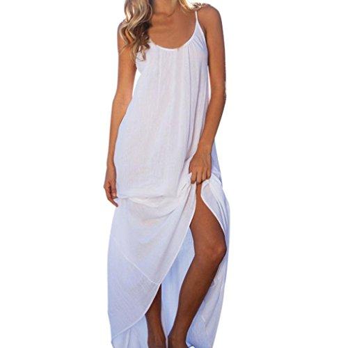 Luweki Women Sexy Backless Deep O-Neck Sling Halter Beach Night Party Dress (S, White)