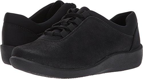 CLARKS Women's Sillian Pine Walking Shoe,Black Synthetic,7.5 M (Clarks Walking Shoes)