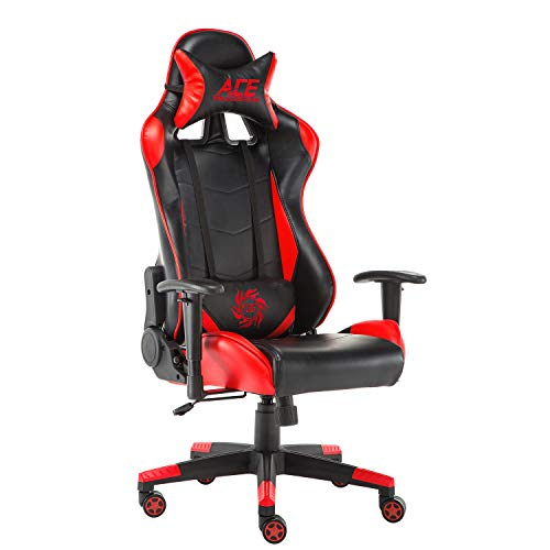 Baishitang PC Gaming Chair, Racing Style Ergonomic Computer Esports Game Chair, High-Back Swivel Office Desk Chair with Headrest and Lumbar Support,Red