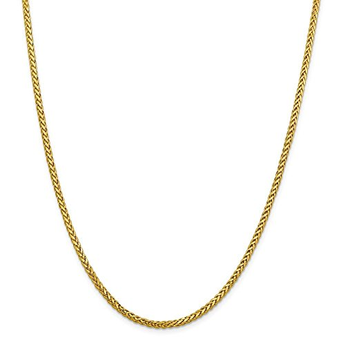 18K Yellow Gold Wheat/Spiga Chain Necklace 2.3 mm thick - Made in Italy - Spring Ring Lock