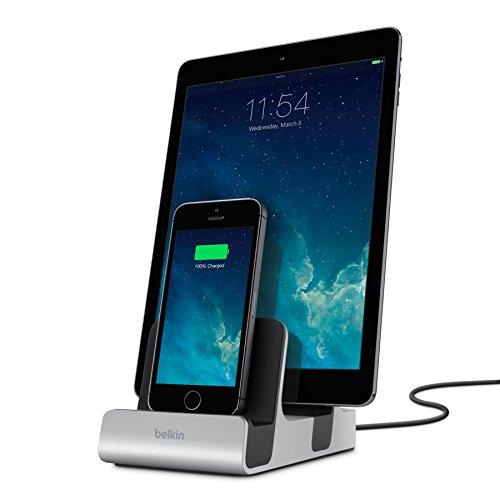 Belkin PowerHouse Ladestation Duo Lightning Connector/Lightning Connector (für iPhone 5/5c/5s, iPhone 6/6s/6 Plus/6s Plus, iPhone 7/7 Plus, iPhone SE, iPad Air 1+2, iPad mini) silber