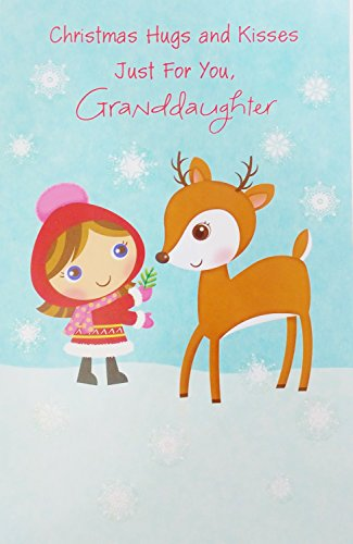 Christmas Hugs and Kisses - Just for You Granddaughter Greeting Card -