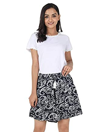B STORIES Women's Viscose Printed Culotte Shorts