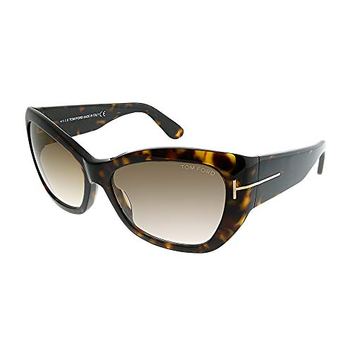 Tom Ford TF460 Corinne 52G Women's Dark Havana/Brown Gradient/Flash Gold Lens ()