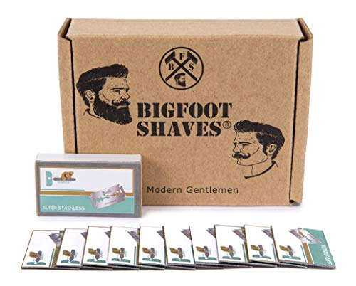 Bigfoot Shaves | Double Edge Razor Blades | Super Stainless Steel | for Mild & Sensitive Skin | Men's Grooming Product | Fits Most Safety Razors | 30 Pack
