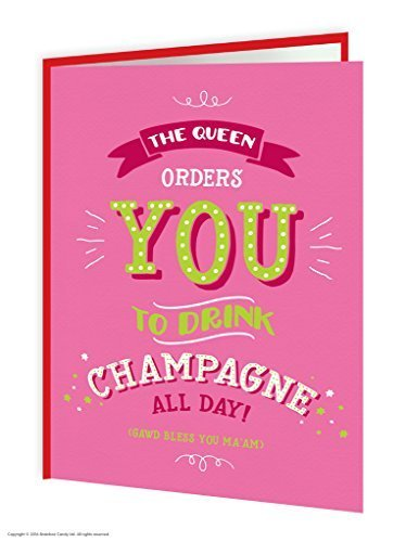 Brainbox Candy Funny Humorous 'Queens Champagne' Birthday Greetings Card - Flittered And Embossed (Sparkling Wine Gifts Delivered)
