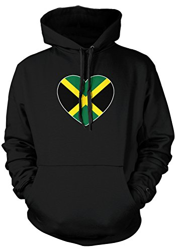 Amdesco Men's Jamaica Heart Flag, Heart Jamaican Flag Hooded Sweatshirt, Black Large Jamaican Flag Heart
