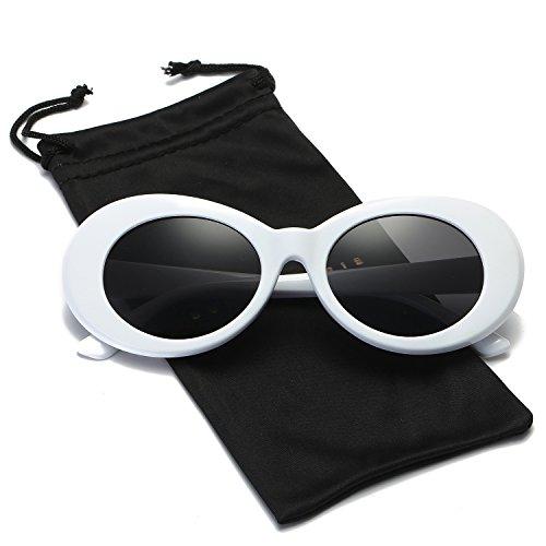 Dumok Clout Goggles Retro Oval Mod Sunglasses Kurt Cobain With White Frame/Grey - Cheap Glasses Trendy