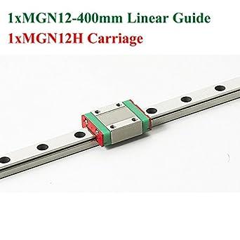 Hilitand Guide Rail 1pc 400mm Mgn12 Miniature Linear Rail Guide Rail 12mm Width 4-Point Contact Slide Rail for Small Equipments 2pcs Mgn12b Slide Blocks