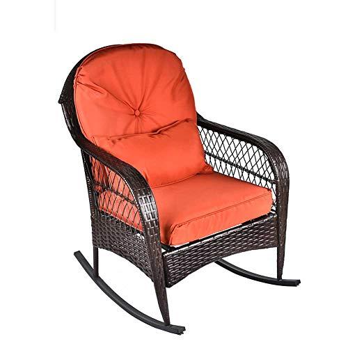 B BAIJIAWEI Outdoor Wicker Rocking Chair – Garden Patio Yard Porch Lawn Balcony Backyard Furniture All- Weather Wicker Rocker Chair with Cushions