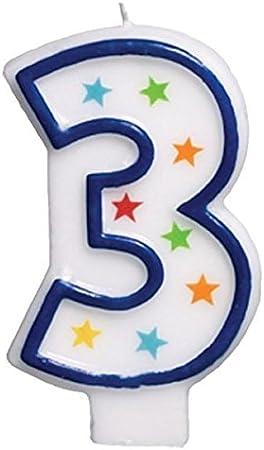Amazon.com: Star Studded plana moldeado Número 3 Celebración ...