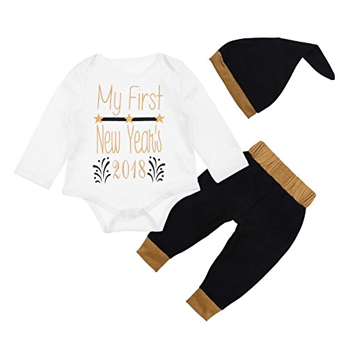 chinatera Baby Boys Girls Clothes New Year 2018/2019 Romper+Pants+Hat+Headband Outfit Set