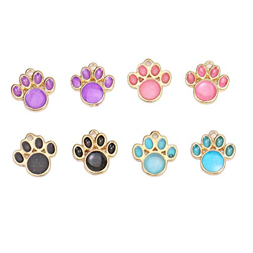 Monrocco 24pcs Glitter Enamel Tiger Paw Print Charms Animal Pet Paw Foot Print Charms for Jewelry Making