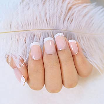 24pcs de falso uñas French Manicure Natural Francés longitud acrílico llena protectora clavos con Simple Cas (240pcs (longitud media)): Amazon.es: Hogar