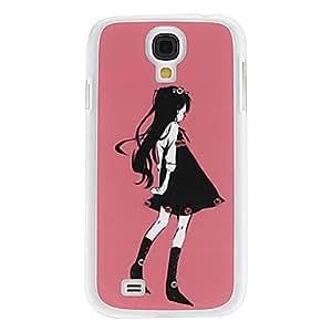 HOR Chica en el caso duro del patrón Vestido Negro con el Rhinestone para Samsung i9500 Galaxy S4