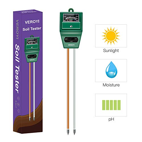 Veroyi ST02 Soil pH Meter, 3-in-1 Plant Soil Moisture Sensor/pH/Light Tester for Gardener (Green)