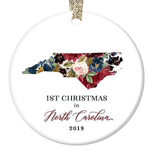 "2019 Christmas Porcelain Keepsake Ornament 1st First Holiday Living In NORTH CAROLINA Ceramic Collectible Present for Family Friend Coworker Pretty Floral 3"" Flat with Gold Ribbon & Free Gift Box"