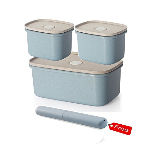 UNIKON Blue Wheat Straw Meal Prep Containers Lunch Box Food Storage Containers with Leakproof Lids - 6 Piece