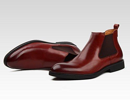 Zapatos Clásicos de Piel para Hombre Zapatos de cuero para hombres Botas de utillaje Martin corto con punta estilo británico de tacón alto ( Color : Negro , Tamaño : EU38/UK5.5 ) Vino Rojo