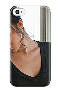 New Style Tpu 4/4s Protective Case Cover/ Iphone Case - Holly Michaels Brunette Tshirt Grey Closed Eyes People Women