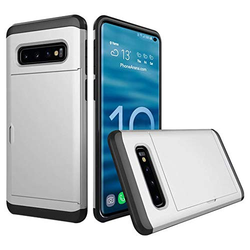 Junshion Protective Case for Galaxy S10 Case,Phone Case Brushed Hard PC+Silica Gel Case Cover Card Holder for Samsung Galaxy S10 Plus 6.4 inch