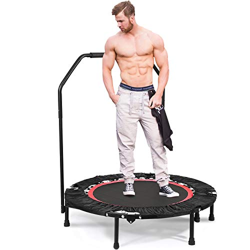 ANCHEER Foldable 40 Mini Trampoline Rebounder with Adjustable Legs, Max Load 300lbs Rebounder Trampoline Exercise Fitness Trampoline for Indoor Garden Workout Cardio Red