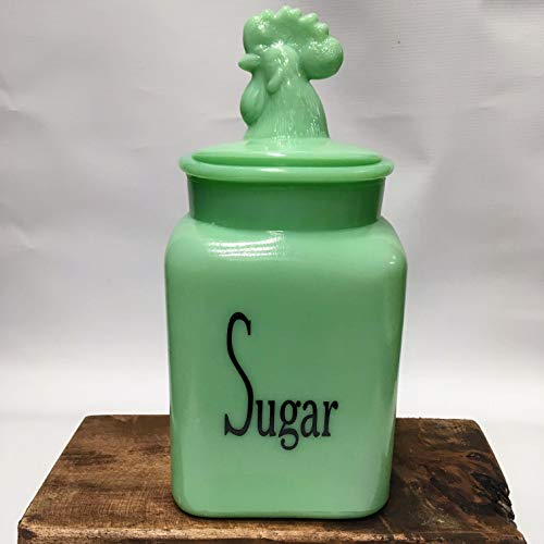 Jade Glass Country Rooster SUGAR Canister/Container Jadeite Jadite - Large Holding Capacity ()