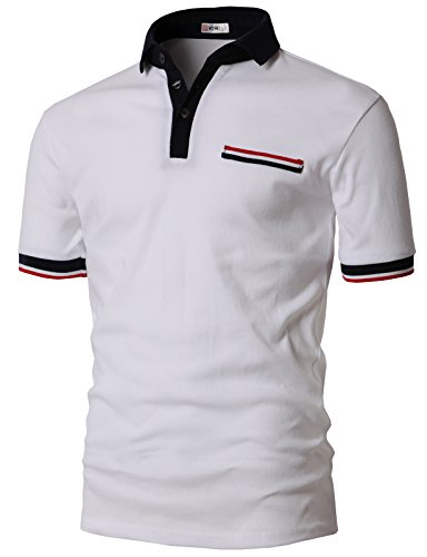 - H2H Mens Heather Colored Point Polo T-Shirts White US L/Asia XL (KMTTS0555)