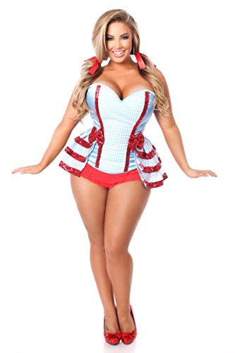 Daisy Corsets Women's Lavish 3 Pc Kansas Girl Costume, Blue, 2X (Adult Plus Size Kansas Girl Costume)