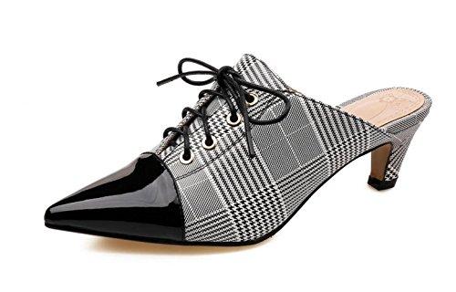 Sandalias de Cuero con Cordones para Mujeres Zapatillas de Cordones con Tacón Medio Superior con Cordones Zapatos Mula Gray+black
